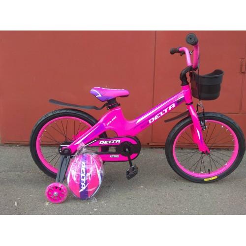 """Детский велосипед Delta Prestige 18"""" (розовый, 2020) + шлем"""