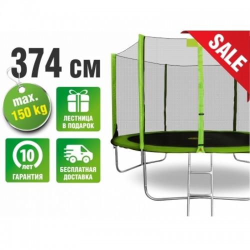Батут SMILE 374 см - 12ft с защитной сеткой и лестницей (зеленый)