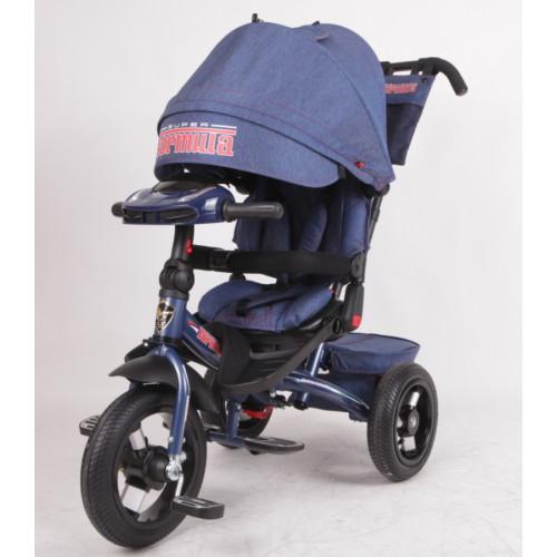 Детский трехколесный велосипед Trike Super Formula, синий джин (Bluetooth и USB выход)