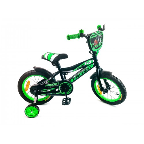 """Велосипед Favorit Biker 14"""" (черный/зеленый, 2019)"""