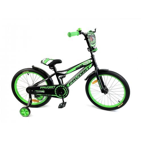 """Велосипед Favorit Biker 20"""" (черно-зеленый,2018)"""