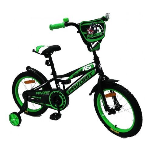 """Велосипед Favorit Biker 16"""" (черно-зеленый,2018)"""