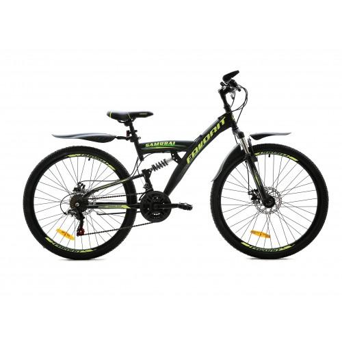 """Велосипед Favorit Samurai MD 26"""" (черный/зеленый, 2020)"""